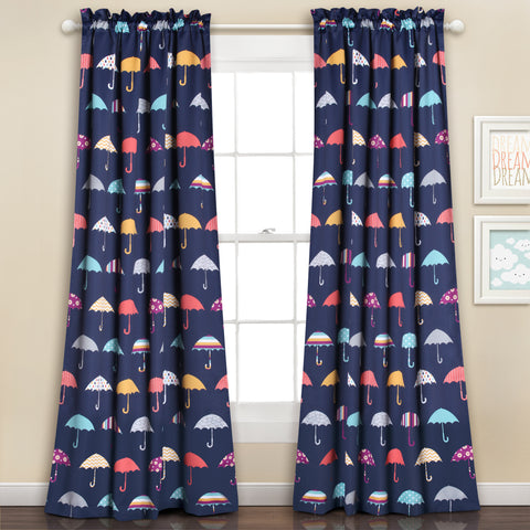 Umbrella Room Darkening Window Curtain Set