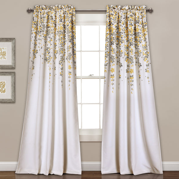 Weeping Flower Room Darkening Window Curtain Pair