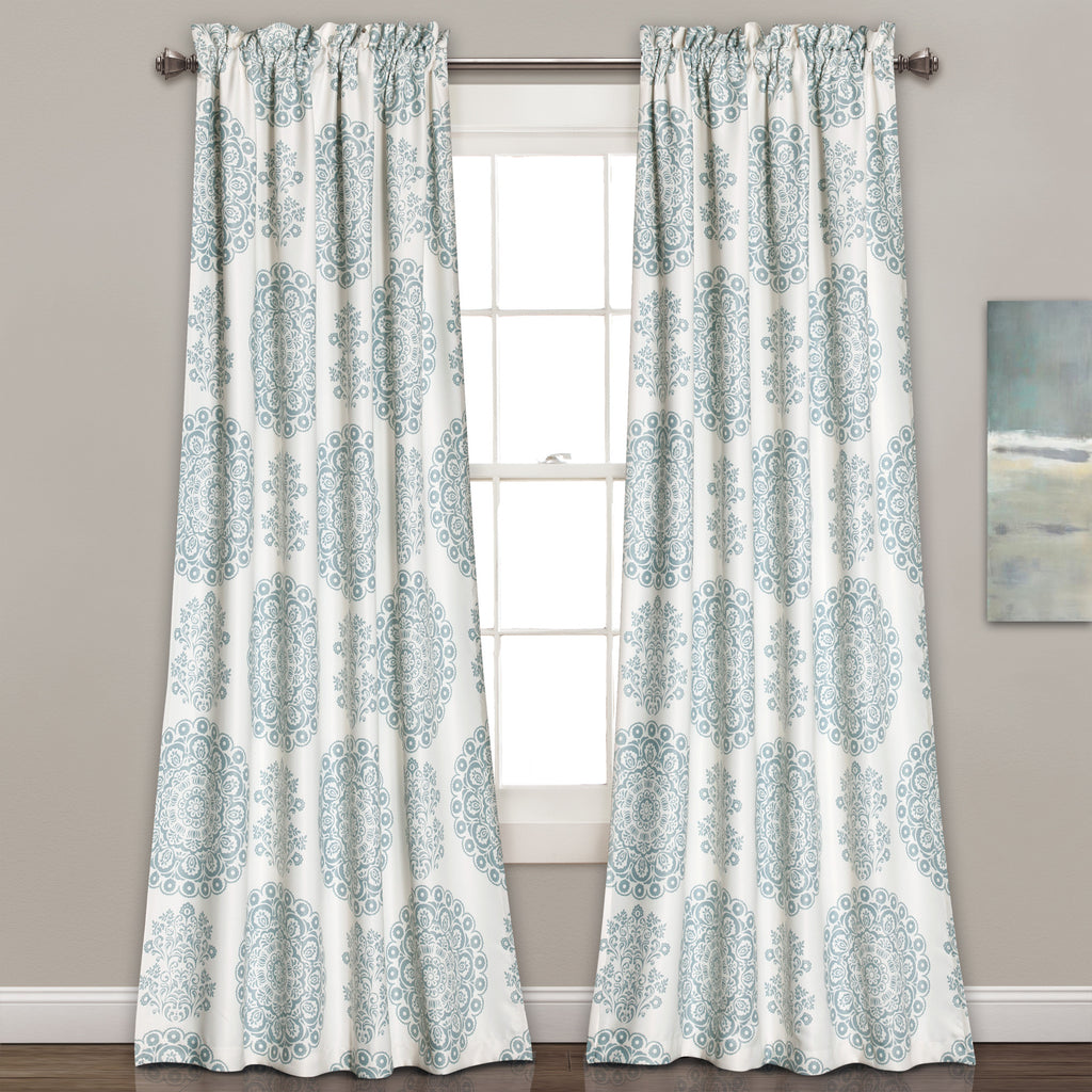 evelyn medallion room darkening window curtain pair - Blue And White Window Curtains