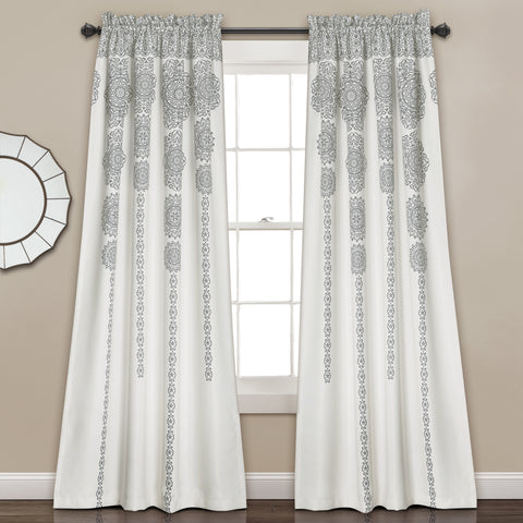 Stripe Medallion Room Darkening Window Curtain Set