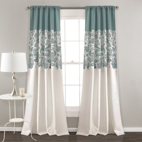 Estate Garden Print Room Darkening Window Curtain Set (Pair)