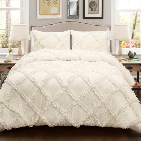Ruffle Diamond 3 Piece Comforter Set