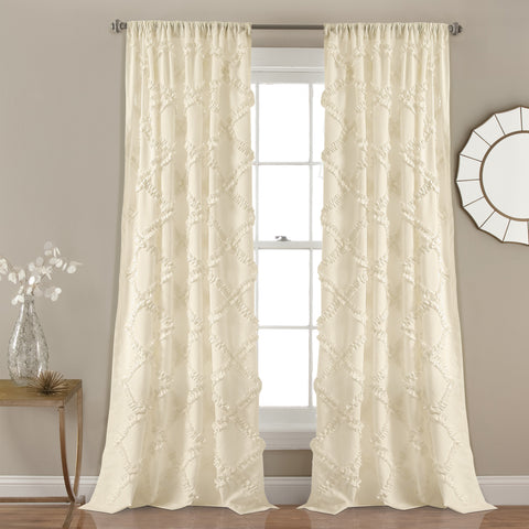 Ruffle Diamond Window Curtain Set (Pair)
