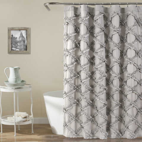 Ruffle Diamond Shower Curtain
