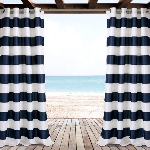 Stripe Outdoor Window Curtain Set
