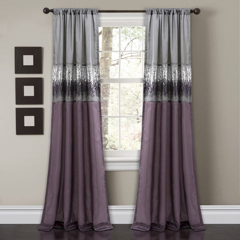 Night Sky Window Curtain Purple/Gray