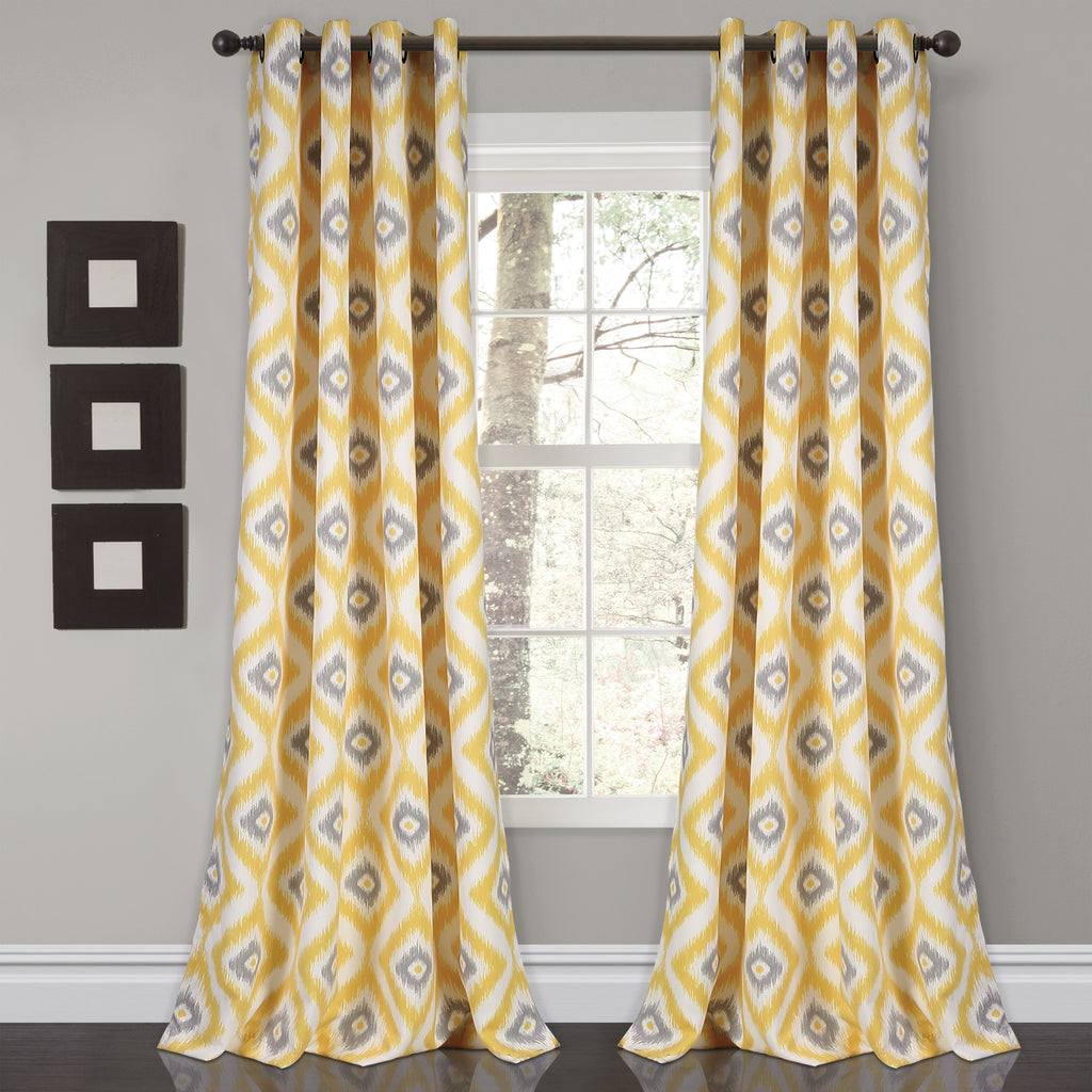Diamond Ikat Room Darkening Window Curtain Set Lush