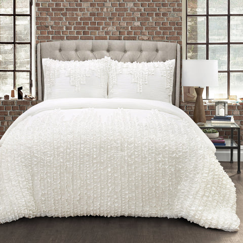 Ruffle Stripe 3 Piece Comforter Set