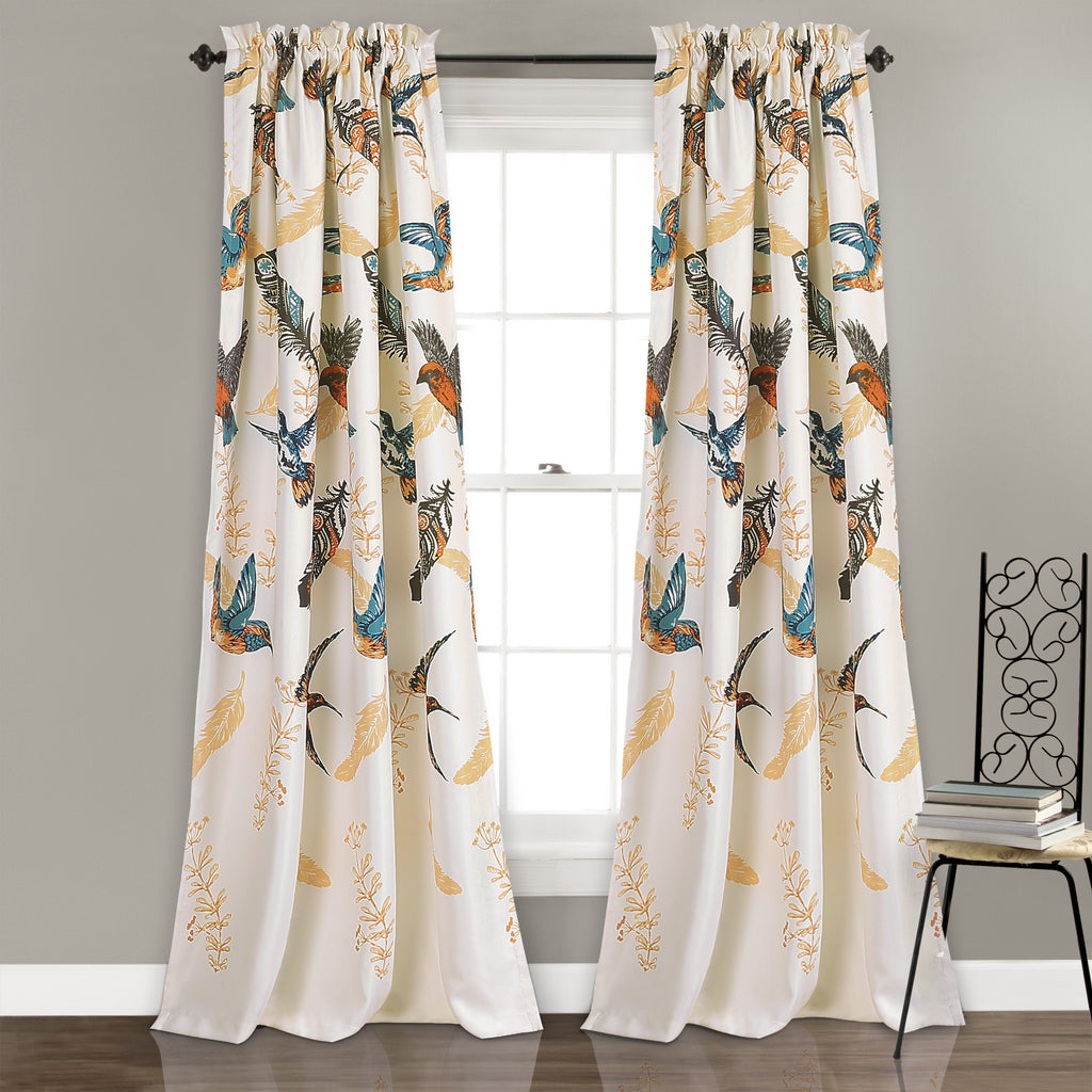 Bird breeze room darkening window curtain set lush decor for Curtains for young adults