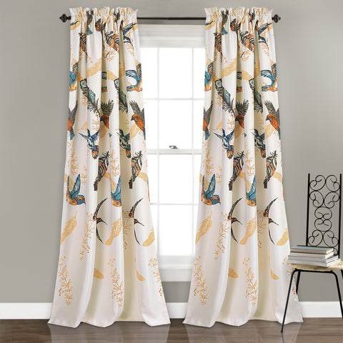 Bird Breeze Room Darkening Window Curtain Set