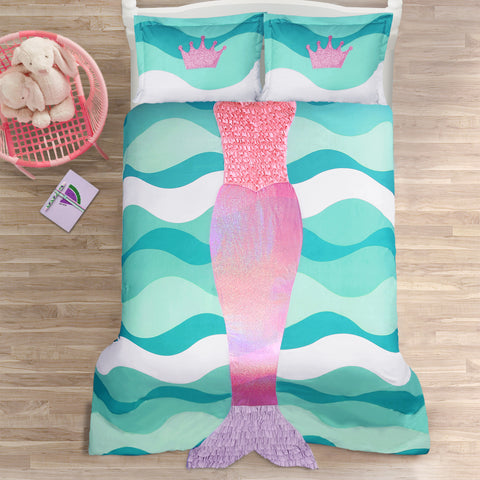 Mermaid Ruffle Comforter 3 Piece Set