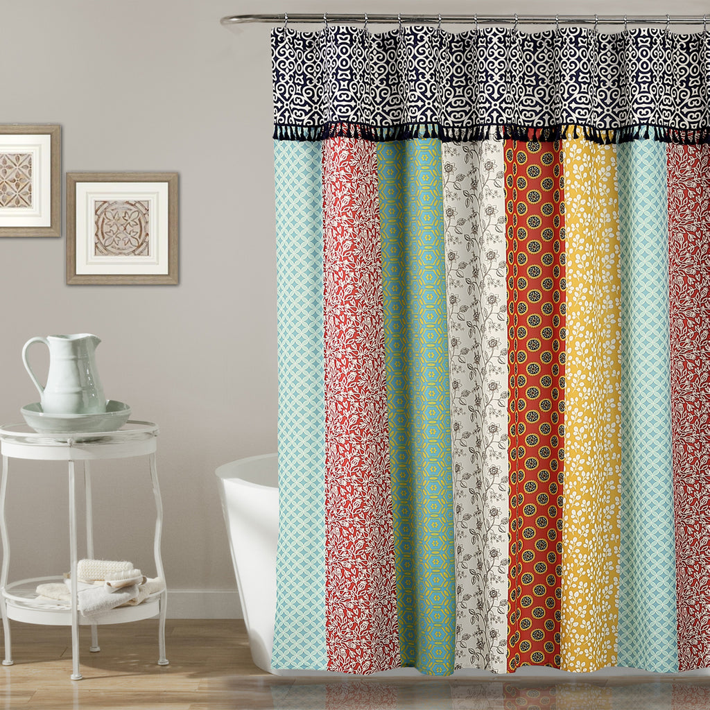 Boho patch shower curtain lush decor for Curtains for young adults