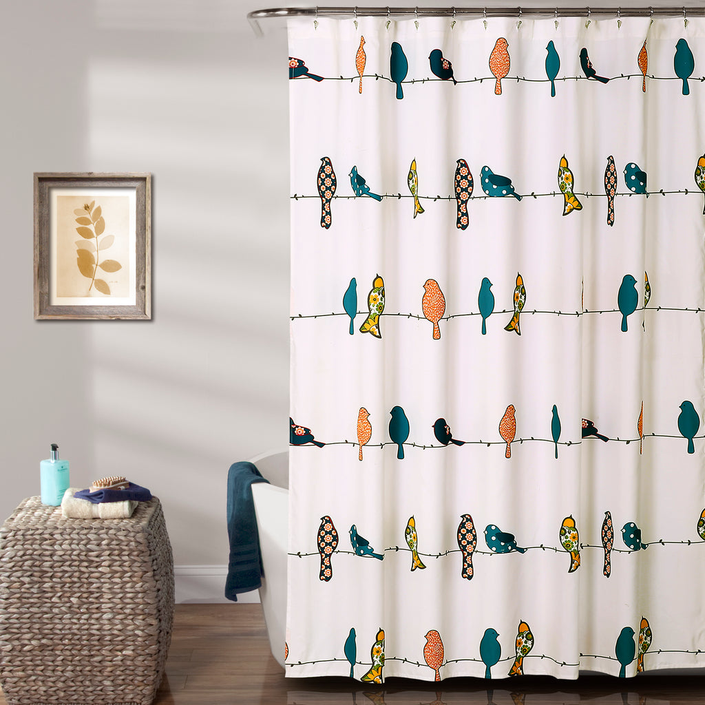 yellow and teal shower curtain. Rowley Birds Shower Curtain  Lush Decor www lushdecor com