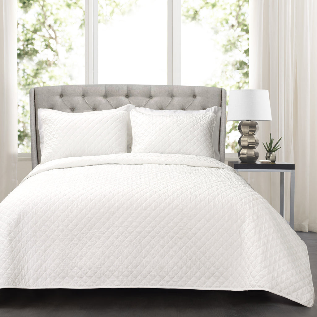 Ava Diamond Oversized Cotton Quilt 3 Piece Set Lush