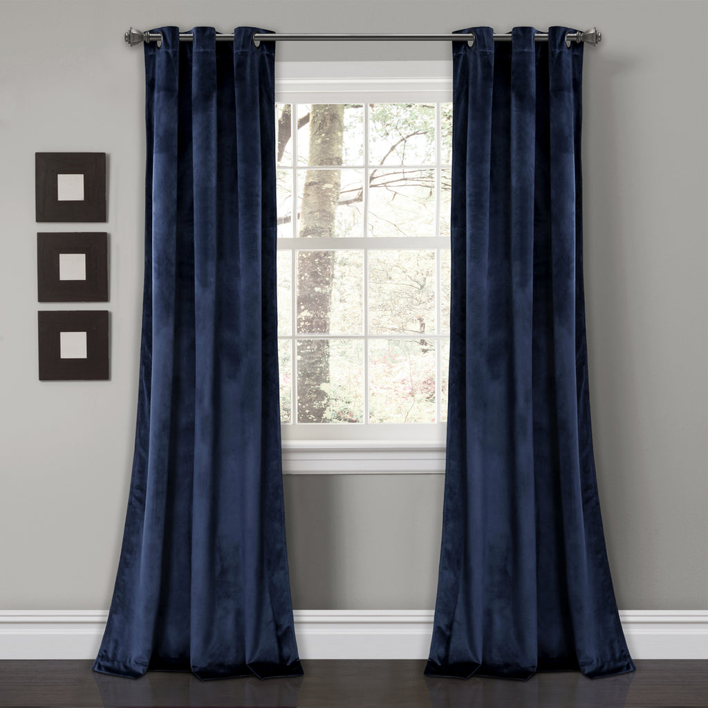 Prima Velvet Solid Room Darkening Window Curtain Panel Set | Lush ...