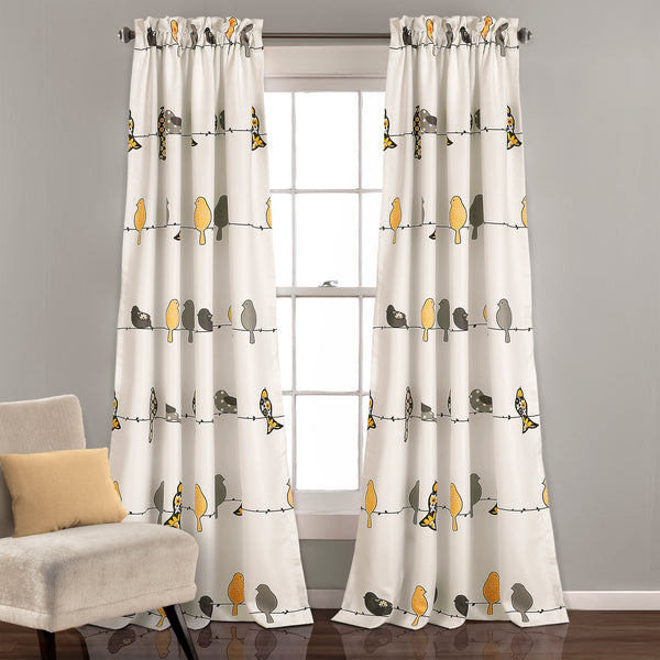 Rowley Birds Room Darkening Window Curtain Set Lush