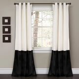 Prima Velvet Color Block Room Darkening Window Curtain Panel Set