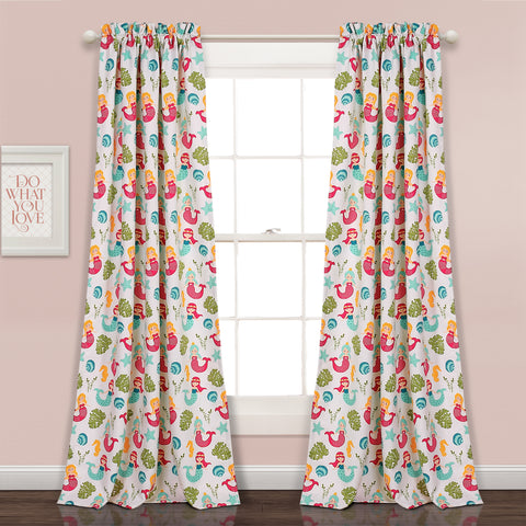 Mermaid Waves Room Darkening Window Curtain Panel Set