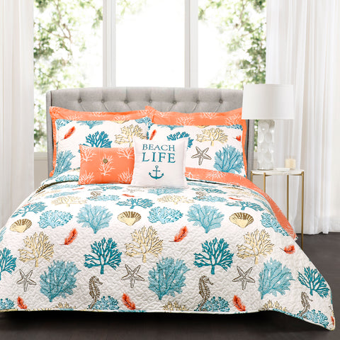 Coastal Reef Feather Quilt 7 Piece Set