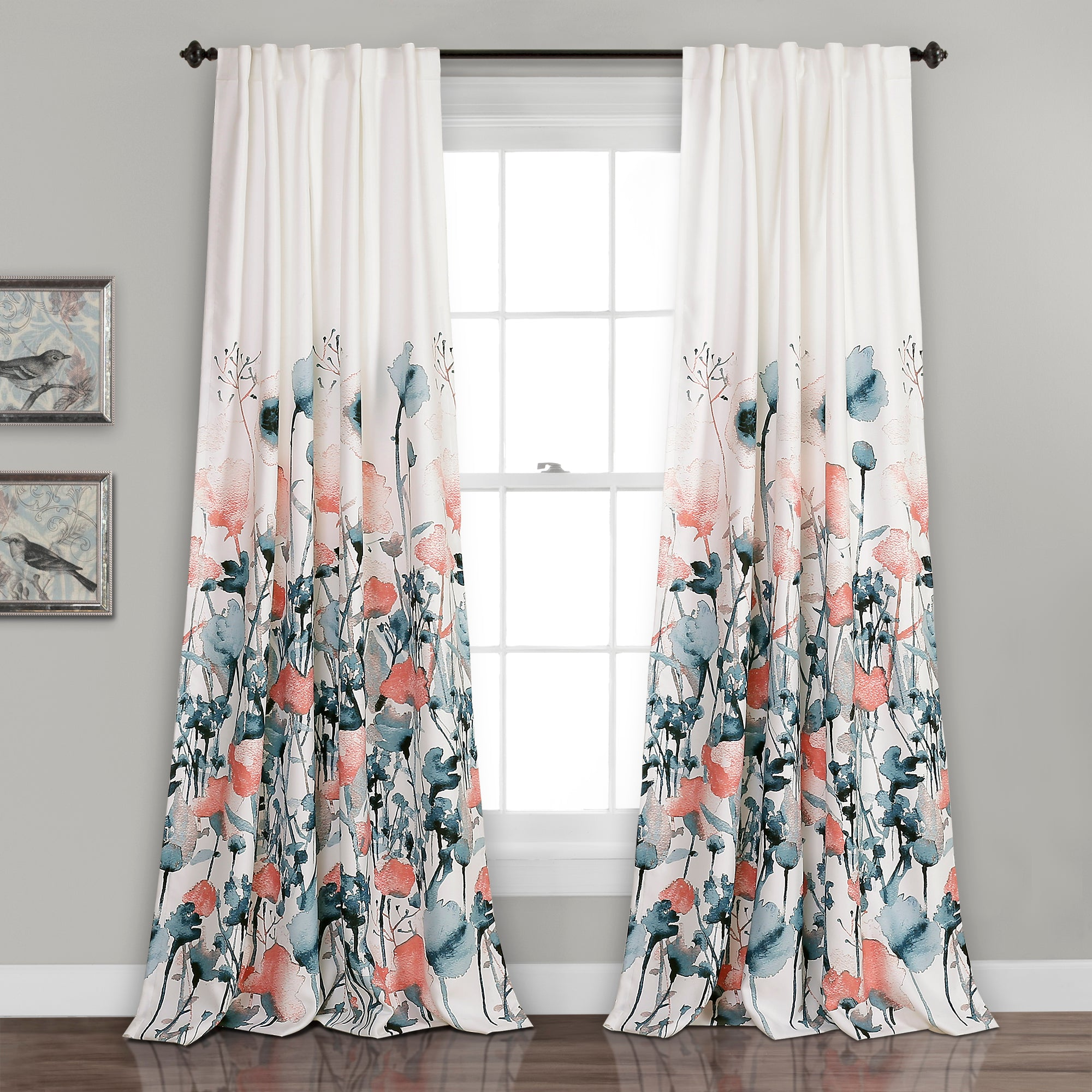 Zuri Flora Room Darkening Window Curtain Panel Set