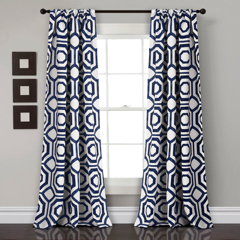 Octagon Blocks Room Darkening Window Curtain Panel Set