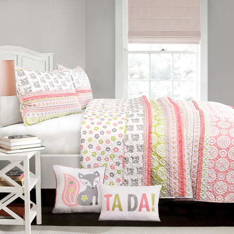 Fox Ruffle Stripe Quilt 5 Piece Set Full/Queen