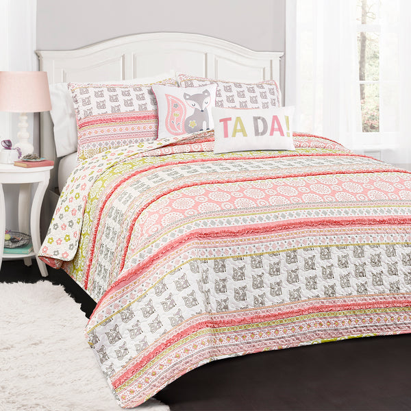 Fox Ruffle Stripe Quilt 5 Piece Set