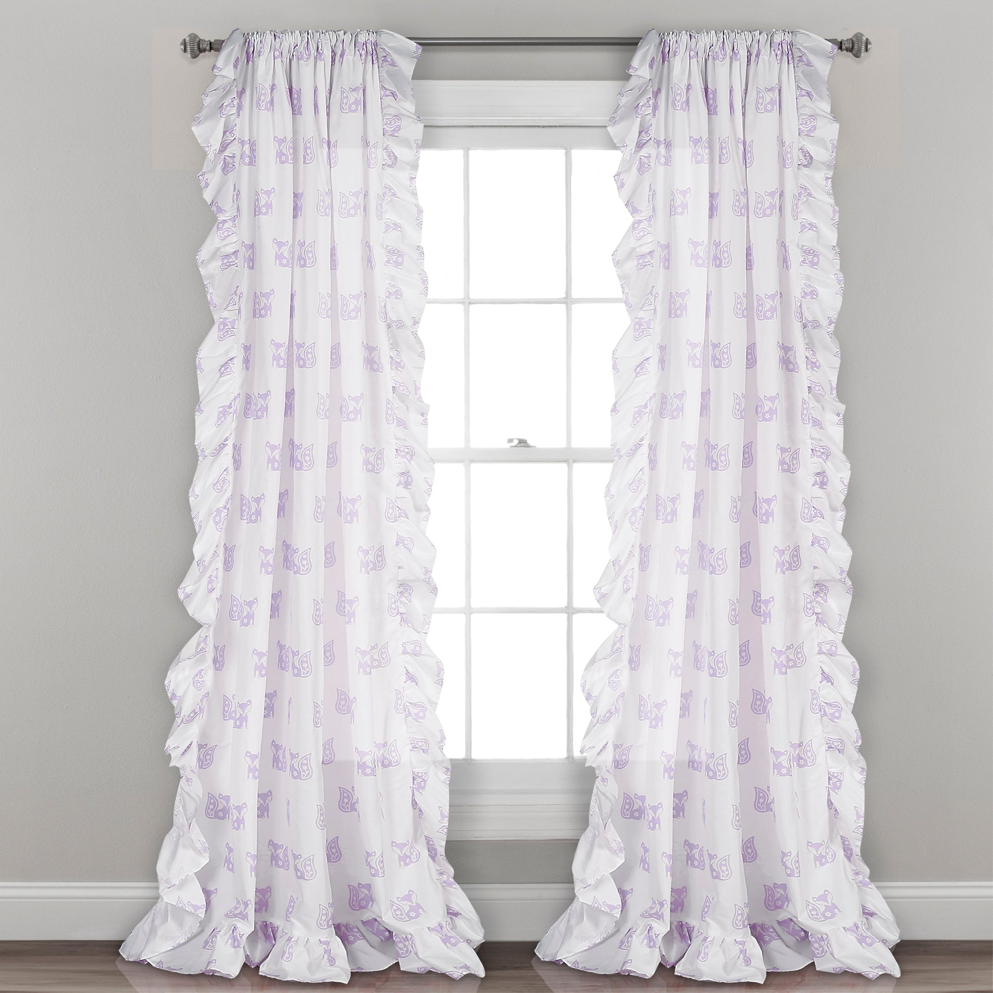 Ruffle Fox Window Curtain Panel Set