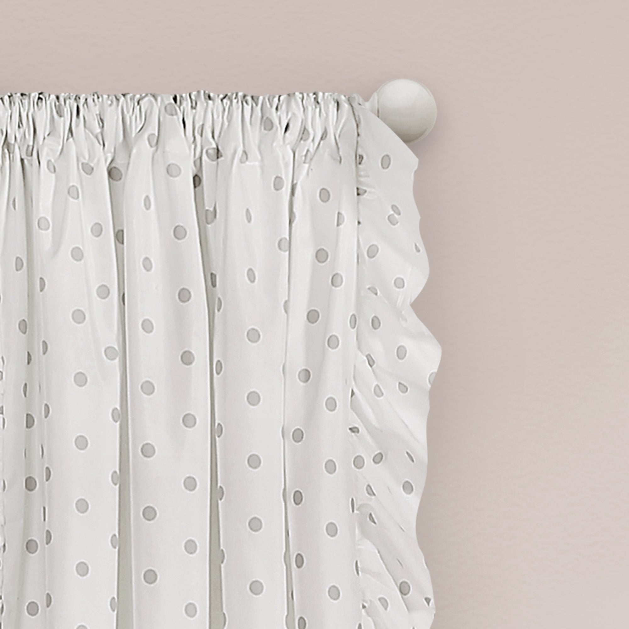 Ruffle Polka Dots Window Curtain Panel Set