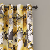 Floral Watercolor Room Darkening Window Curtain Panel Set