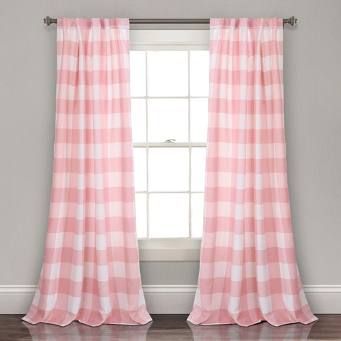 Kelly Checker Room Darkening Window Curtain Panel Set
