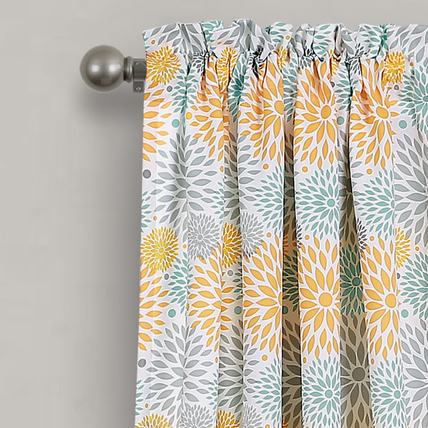 Blooming Flower Room Darkening Window Curtain Panel Set