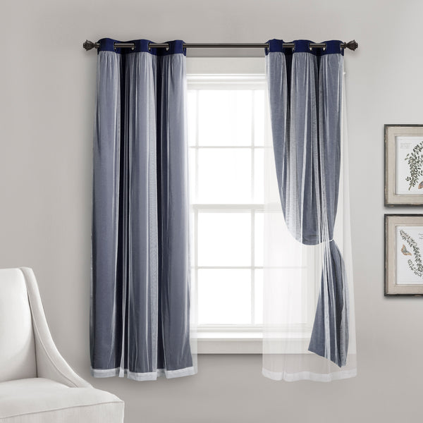 Grommet Sheer With Insulated Blackout Lining Curtain Panel Set