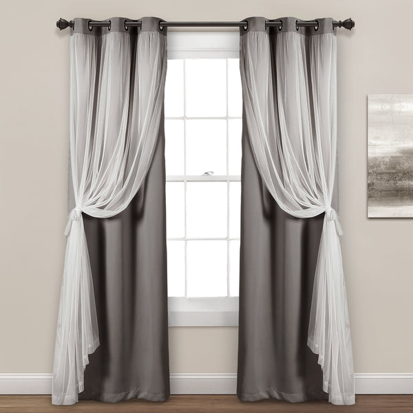 grommet sheer with insulated blackout lining curtain panel set rh lushdecor com sheer curtains with blinds sheer curtains with fairy lights