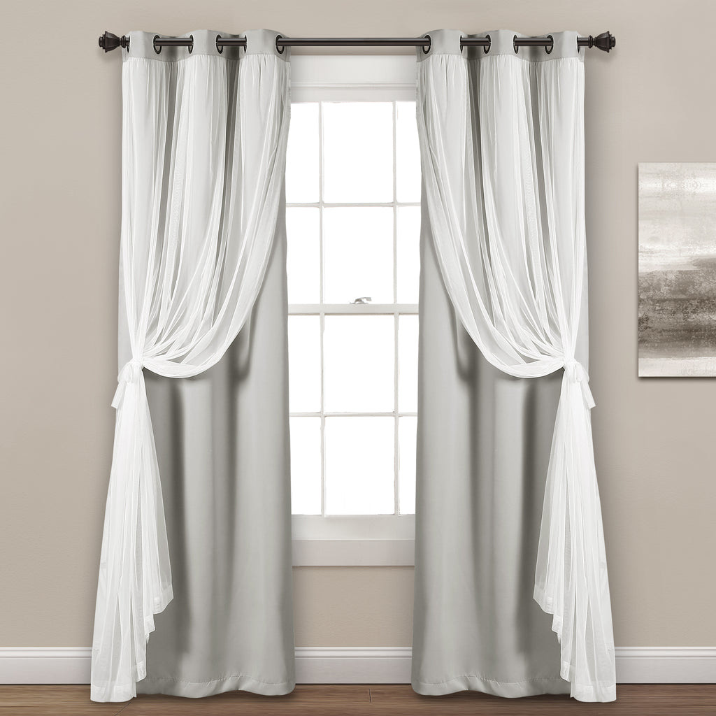 grommet sheer with insulated blackout lining curtain panel. Black Bedroom Furniture Sets. Home Design Ideas