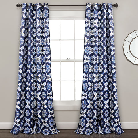 Venus Medallion Room Darkening Window Curtain Panel Set