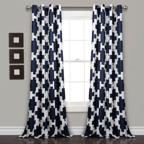 Wellow Ikat Room Darkening Window Curtain Panel Set