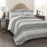 Bedding Bundle: Hygge Geo Quilt Set + Luca Faux Fur Decorative Pillow