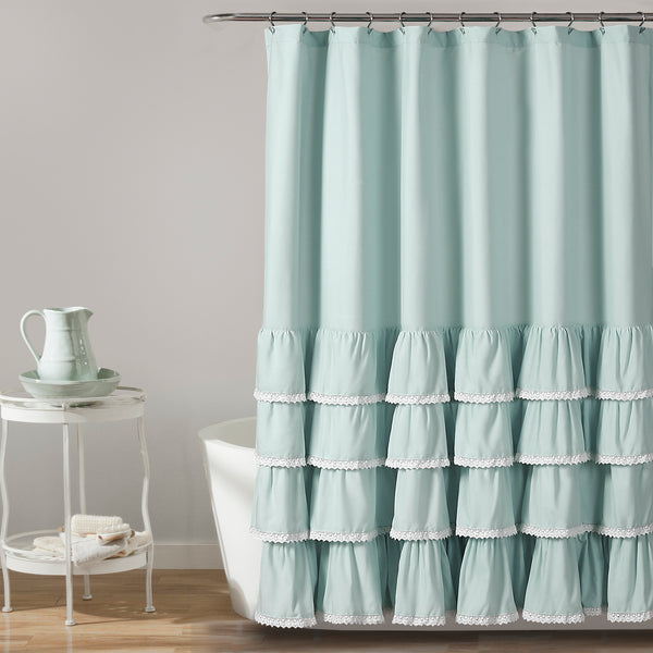 Ella Lace Ruffle Shower Curtain
