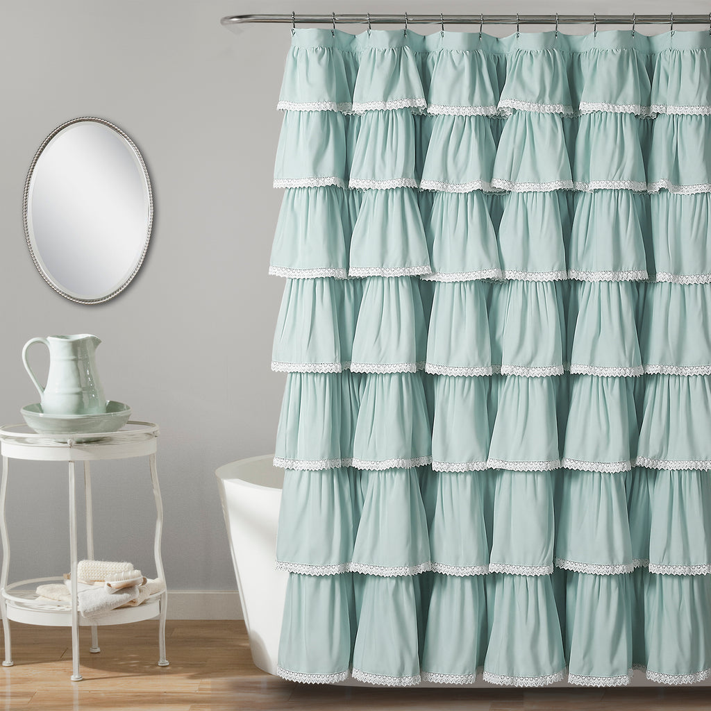 Charmant Lace Ruffle Shower Curtain
