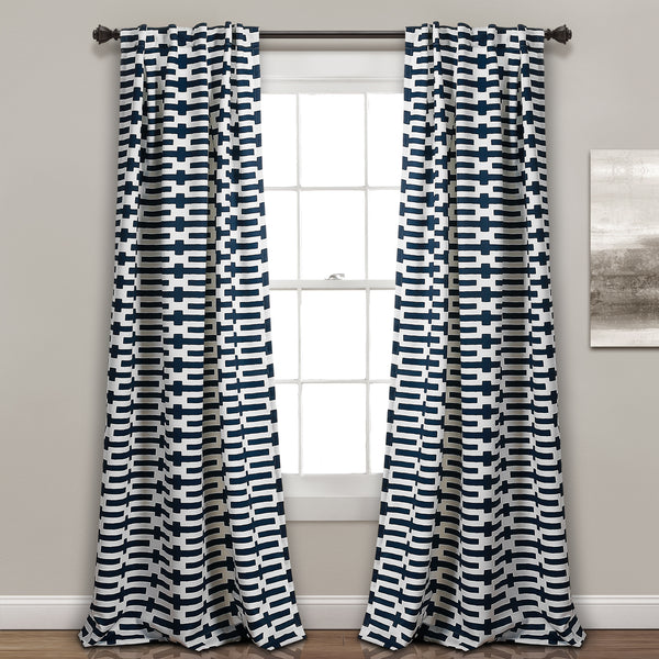 Austin Geo Room Darkening Window Curtain Panel Set