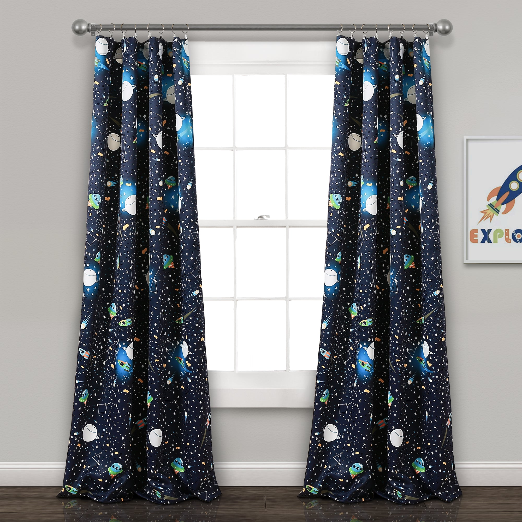 Universe Room Darkening Window Curtain Panel Set