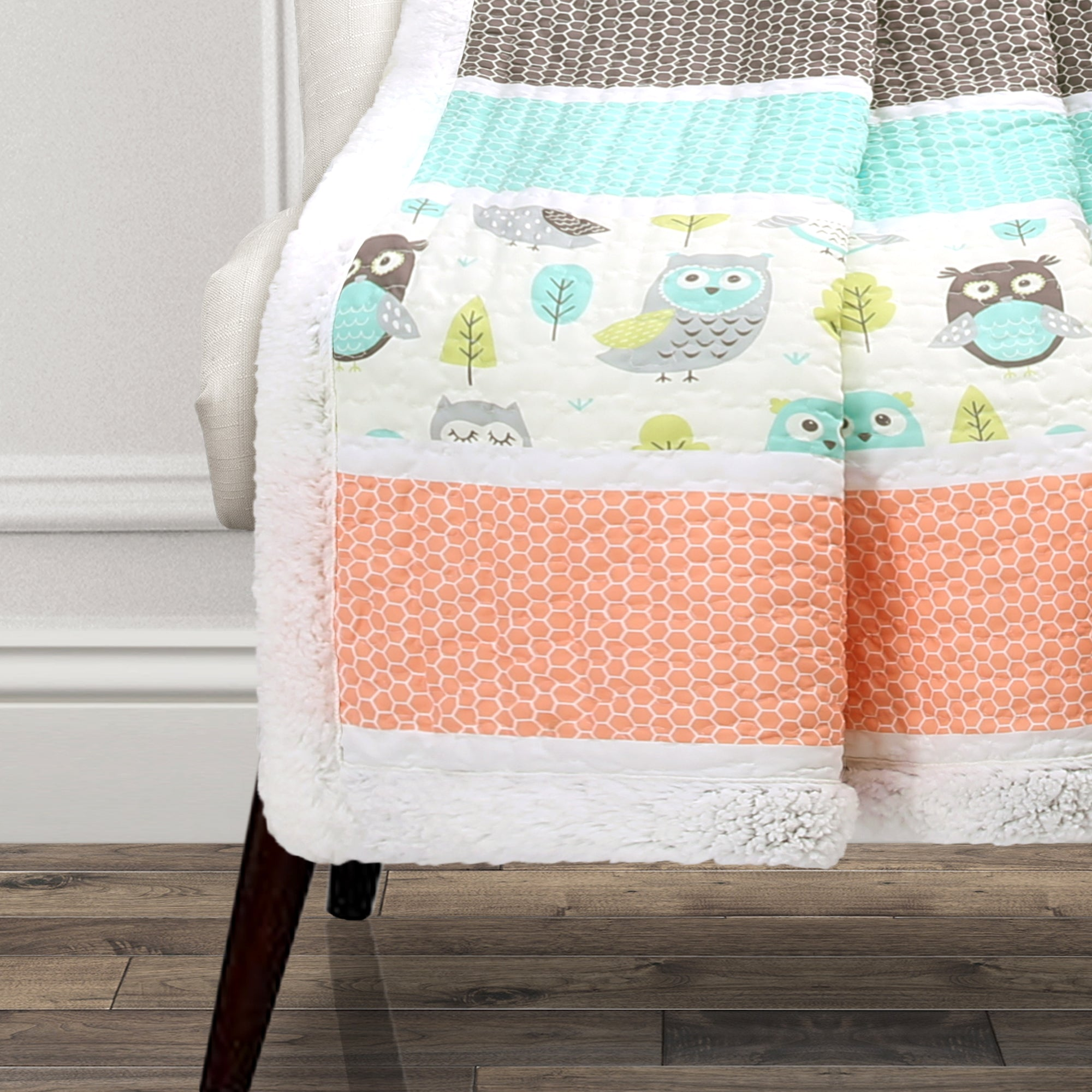 Owl Stripe Sherpa Throw
