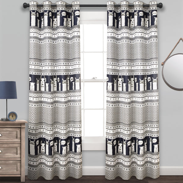 Llama Stripe Room Darkening Window Curtain Panel Set