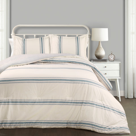 Farmhouse Stripe 3 Piece Comforter Set