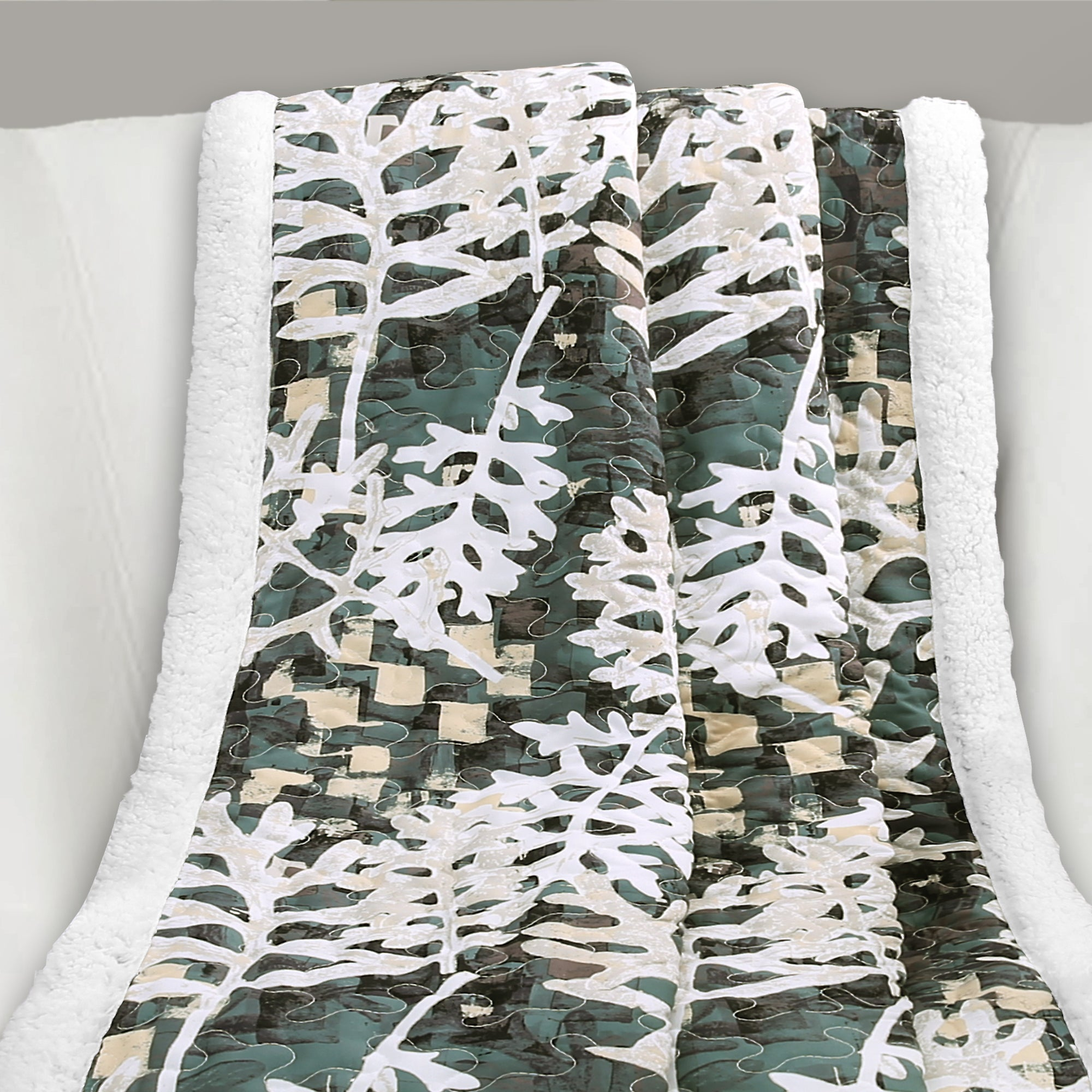 Camouflage Leaves Sherpa Throw