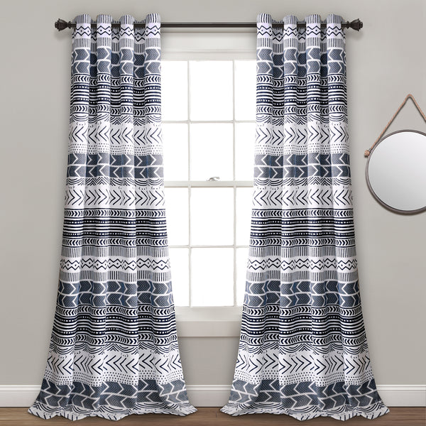 Hygge Geo Room Darkening Window Curtain Panel Set
