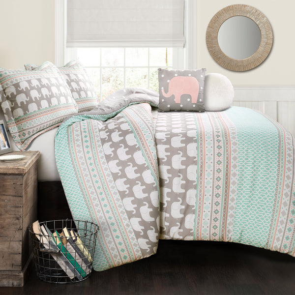 Elephant Stripe Comforter Set
