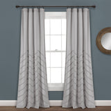 Chenille Chevron Window Curtain Panel Set