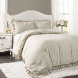 Bedding Bundle: Reyna Comforter Set + Boho Tufted Cotton Woven Tassel Fringe Throw